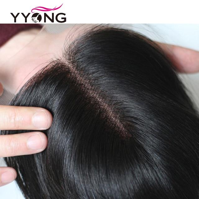 Yyong 3/4 волнистые пряди с закрытием бразильские волосы плетение пряди с кружевом 4x4 Remy пряди человеческих волос с закрытием