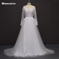 2017 A Line Long Tay Áo Sheer Cổ Sexy Backless Boho Wedding Dresses Robe De Mariage Tulle Trắng Bridal Gown n652