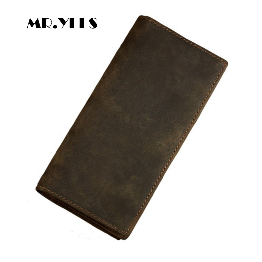 MR.YLLS Genuine Leather Vintage Wallet Men Long Brand Wallets Card ID Holder Purses High Quality Coin Male 2018 Multi-Card Bit