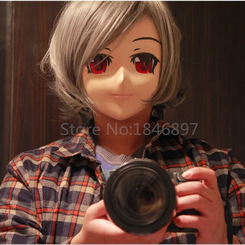 hot sale male silicone half head short hair red eye anime kiger mask kigurumi cosplay role eye color can be customize