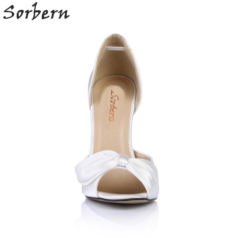 Élégant blanc Sur Couleurs Dames Peep Chaussures Blanc Femme Custom Talons Mariage Hauts Des Glissement De Arc Sorbern Toe Personnalisé Pompes Color Mariée q1w4Bqd