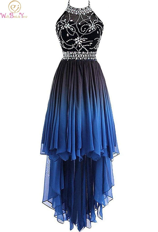 Halter Blue   Cocktail     Dresses   High Front Low Back Chiffon Crystals Beading Sleeveless Zipper Contrast Color Formal Party Gown
