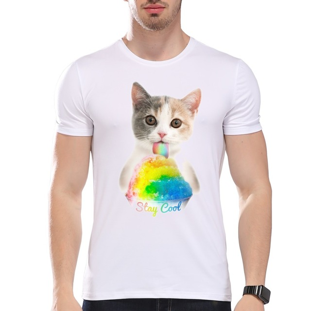 2680da871a TEEHEART Men's Cat Eating Ice Cream Printed Summer T-Shirt Short Sleeve  O-Neck Modal Hipster Tees la319