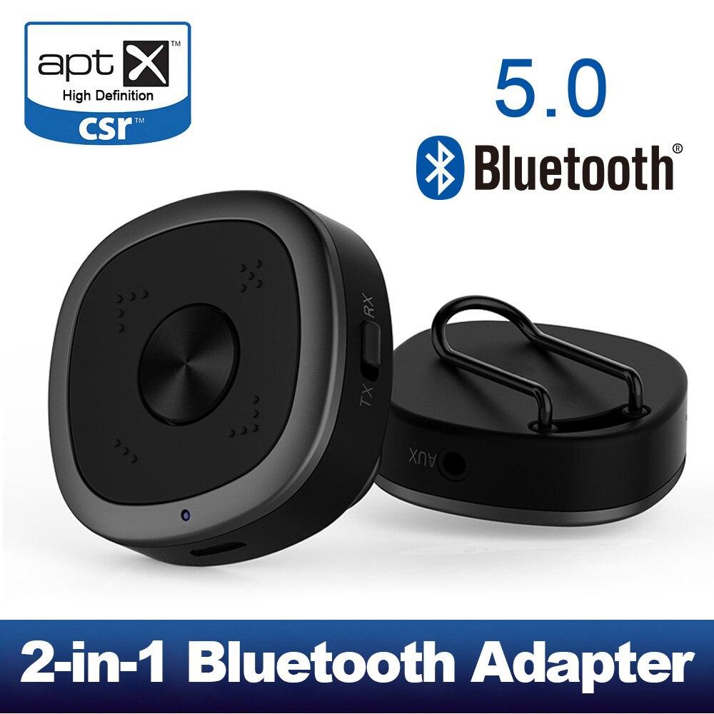 Dernier émetteur et récepteur Bluetooth 5.0, adaptateur Audio sans fil 3.5mm 2-en-1 Portable pour système stéréo TV/maison, aptX HD