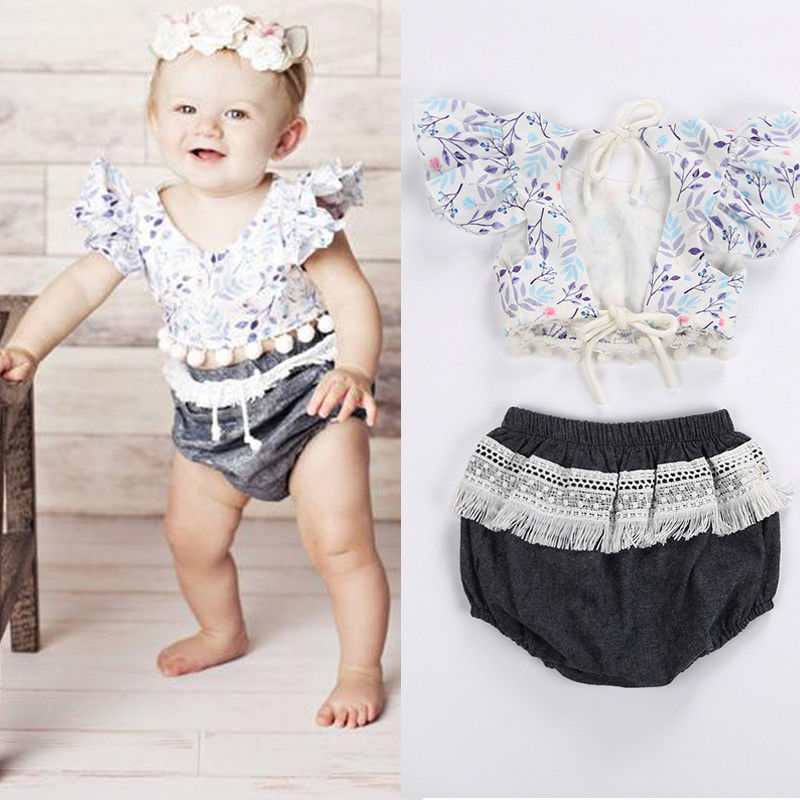 Pudcoco 2PCS Newborn Infant Baby Girls Kids HOT SALE Flower Fly Sleeve T-Shirt And Pants Outfits Set 0-24M