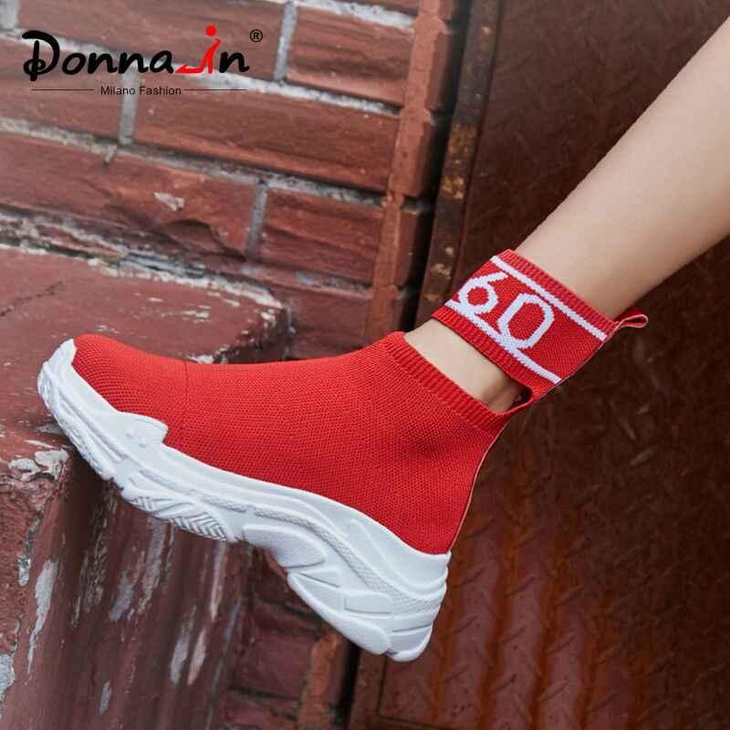 Donna-in Hakiki Deri Sıcak Kış Çorap çizmeler kadın ayakkabıları Platformu Ultralight lastik çizmeler Bayanlar Için Yüksek Topuklu Kar Botları