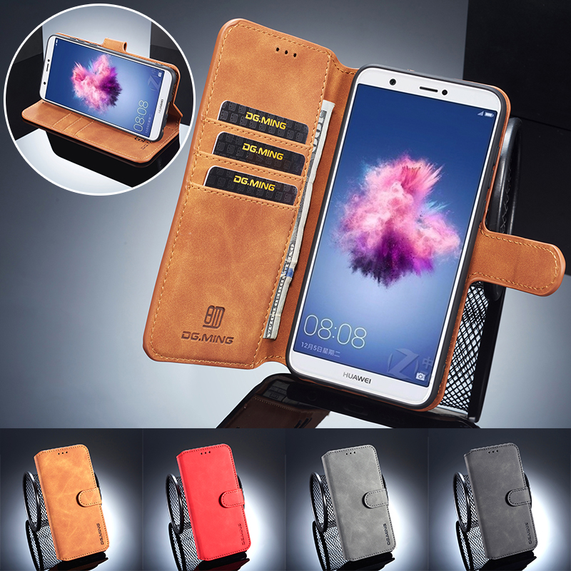 DG.MING Luxury Retro Vintage Wallet Leather Case for Huawei P-Smart Flip Card Slot Holder Stand Phone Cover for Huawei P Smart