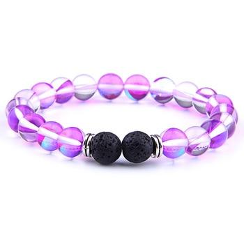 Bracelet perle pierre de lune violet