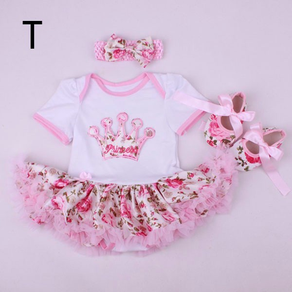 Free Shipping Cute 1SET Rompers Dresses, Mini Baby Clothes Sets girl clothing Tutu Romper  Set =Headband+Rompers+shoes