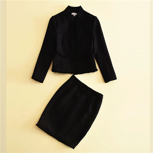 2pcs suits 2017 new designer long sleeve woolen blend coat outerwear skirts women's twinset clothing set suits office for work garyduck girls clothing sets kids knitted suits long sleeve houndstooth tops skirts 2pcs for girls suits