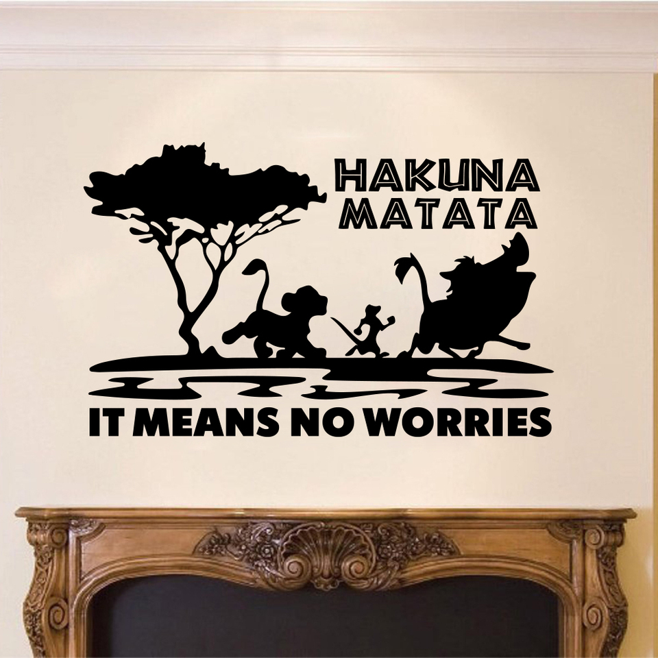 Cartoon The Lion King Hakuna Matata Means No Worries Quote Tree Zoo Car Laptop Wall Sticker Decal Inspirational Quote Vinyl Wall Stickers Aliexpress