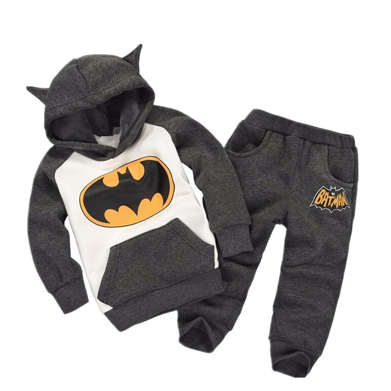Baby Boy's Clothes Cotton Warm Two-piece Children's Sports Clothing Cartoon Batman Baby Boy Character Performance Costume Set