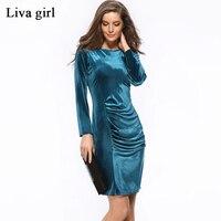 2017 Spring Dress Women Online Shopping India Robe Femme Velvet Gold Velvet Bag Hip Slim Long