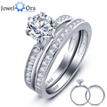 Luxurious Wedding Classic 6.5mm Round Cubic Zirconia Ring Sets 925 Sterling Silver Rings For Women (JewelOra RI101618)