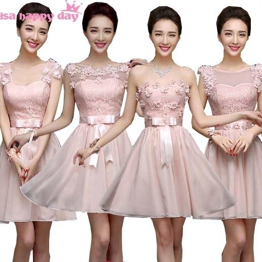 309d2942b Top de encaje adolescente de estilo elegante dama de honor vestido de Rosa  Luz formal corto vestidos de gasa para adolescentes damas de honor vestido  H2734 ...