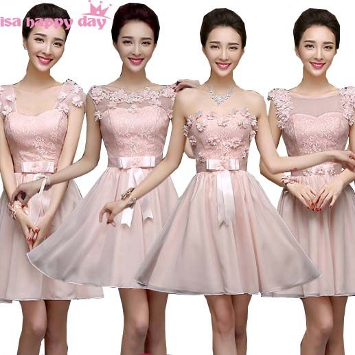 Lace Top Multi Style Elegant Bridesmaid Dress Light Pink Formal Short Chiffon Dresses For S Bridesmaids Gown H2734