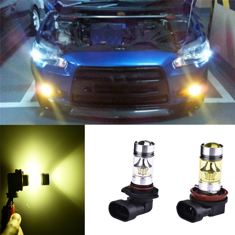new arrival 1pair 3030 80w h8 h11 high power led car fog lights or10 2Pcs High Power LED Fog Light  100W H11/H8/H9 H10 High Brightness with Headlight Lens Car Daytime Running Lights New Style