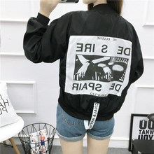 Autumn Women Pink Stand Collar Zipper Letter Casual  Jackets Full Back Patch Ribbon Oversized Bomber Jacket