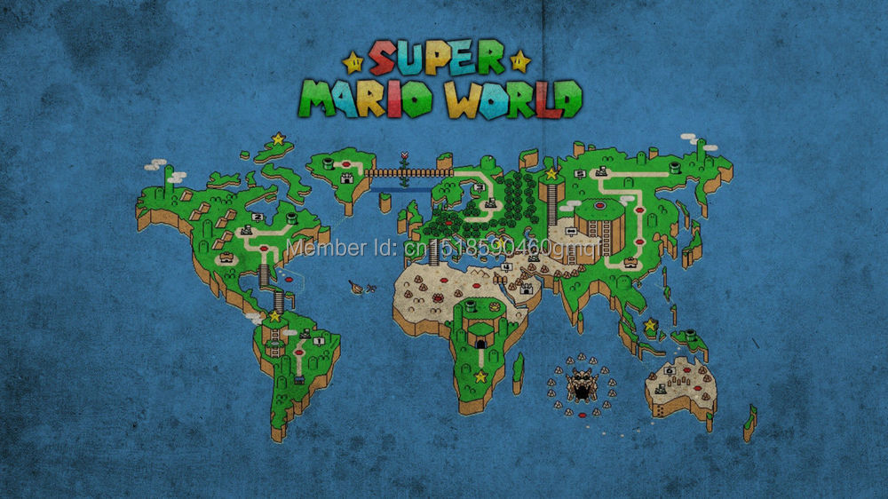 Super mario world map art silk poster art bedroom decoration 0741 0741 super mario world map art 24x36 print silk posterg gumiabroncs Image collections