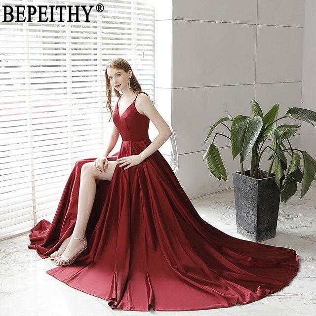BEPEITHY Vestido De Festa New Design Sexy Slit Formal Dress Burgundy V Neck Long Evening Dresses Reflective Dress 2019 5
