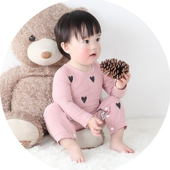 0-24 Months High Quality New Born Baby Girls Boy Romper Clothes Cute Heart Cotton Girls Long Sleeve Jumpsuit Pink Blue 3