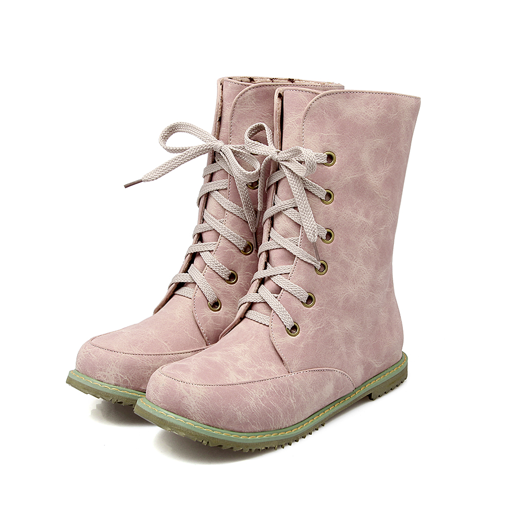 ФОТО Big size 34-52 New Round  Toe Buckle Boots for Women Tie Ankle Boots Heels Fashion warm Winter  Spring  Autumn Casual Shoes  503
