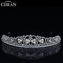 CHRAN Brand Hair Jewelry Women Bridal Accessories Rhodium Plated Princess Crown Charm Pearl Designs Crystal Flower Wedding Crown