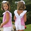 2016 Summer Girl Блузки и рубашки Оборками и лук Девушка Топы Плед Девушка Одежда Дети Девушка Летние Одежды