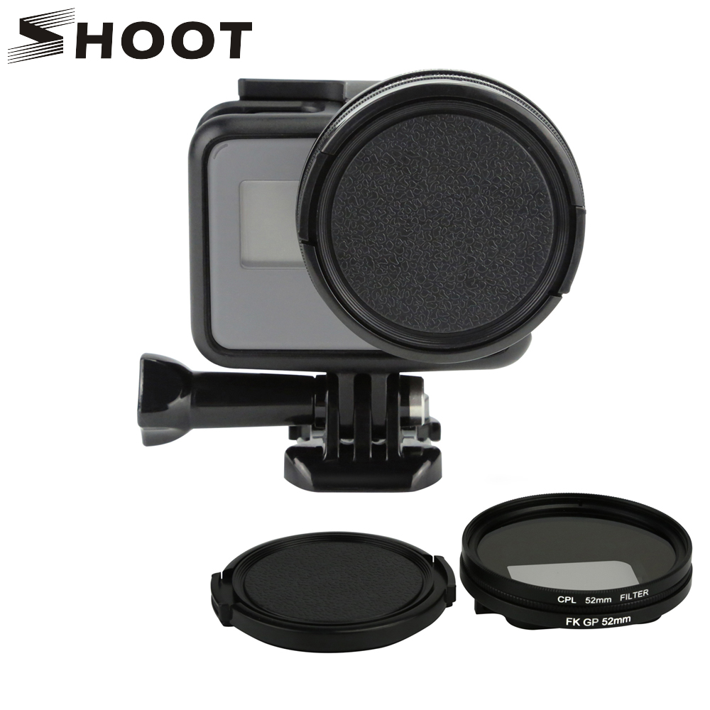 SCHIEßEN 52mm Schwarz Metall Glas Zirkularpolfilter CPL Objektiv Filter Set mit Filter Adapter für GoPro Hero 7 6 5 Go Pro Action Cam