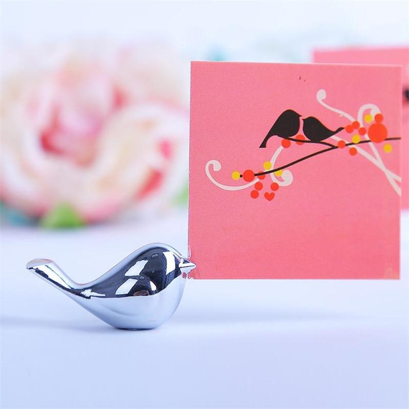 20PCS / LOT Kärlek Fåglar Bröllop Place Card Holder Borstat Silver - Semester och fester - Foto 2