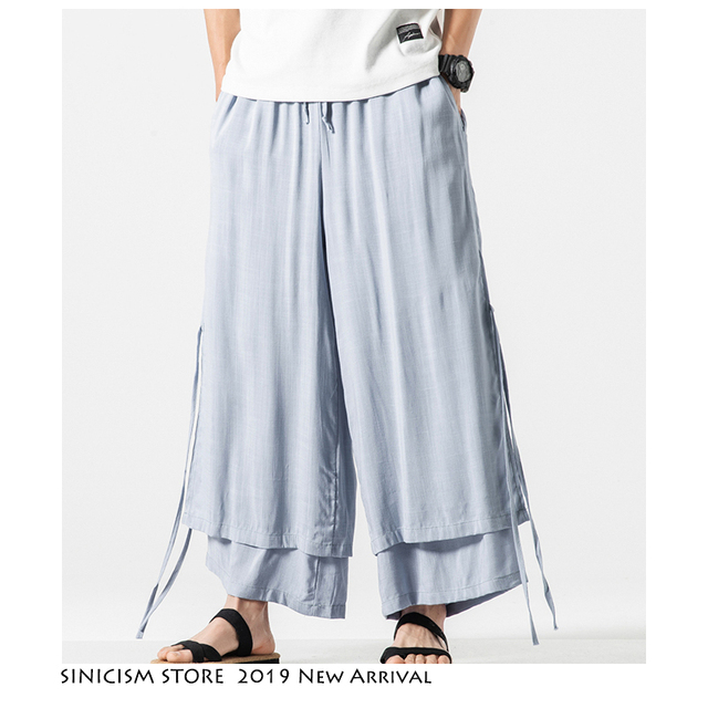 Sinicism Store 2020 Men Wide Leg Pants Summer Streewear Cotton Linen Loose Male Hanfu Chinese Style Mens Full Length Pants 3XL 33