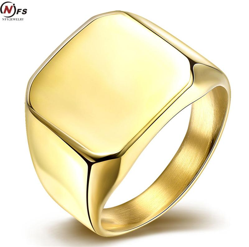 Smooth Silver Gold Square Signet Ring Boys Mens Ring 316L ...