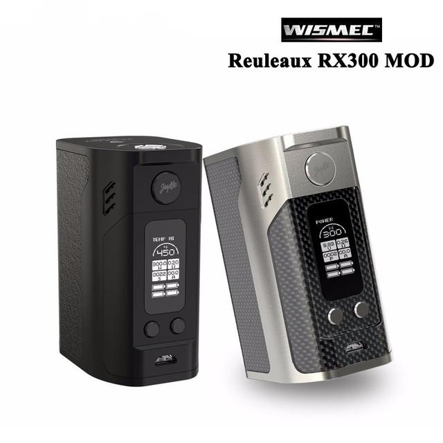 Cigarro eletrônico wismec reuleaux rx300 tc 300 w caixa mod vape vaporizador de versão de fibra de carbono e couro pode ser usado como powerbank