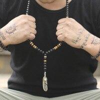 Модные мужские классические изделия 8 мм матовый черный оникс бисер ожерелье металлический кулон длинное ожерелье дропшиппинг Мужчины оже...