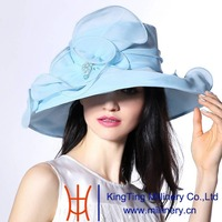 June's Young Summer Fashion Organza Hat 100% Organza Hat and Shawl Light Blue Color Wedding Party Dress Lady Fedoras Hats