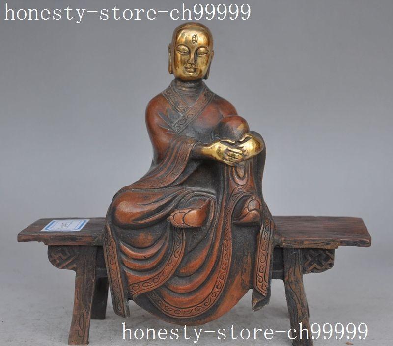 Рождество Тибет буддизм бронза позолота Архат буддийский монах сиденье деревянная скамья статуя Будды Хэллоуин