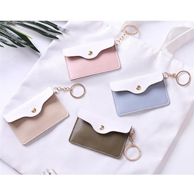 1 Pc Frauen Mädchen Stilvolle Schlüsselbund Brieftasche 4 Colorsleather Id Karte Halter Karte Taschen Abzeichen Schlüssel Ring Münze Tasche
