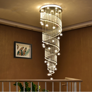 Image 1 - Современный светодиодный светильник с длинной спиральной хрустальной лестницей, потолочный светильник люстра, подвесной светильник для ресторана, светильник со звездой