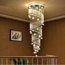 Moderne Kristall FÜHRTE Decke Kronleuchter Lange Spirale Treppe Flur Restaurant Hängen Lampe Meteor Sterne Leuchten