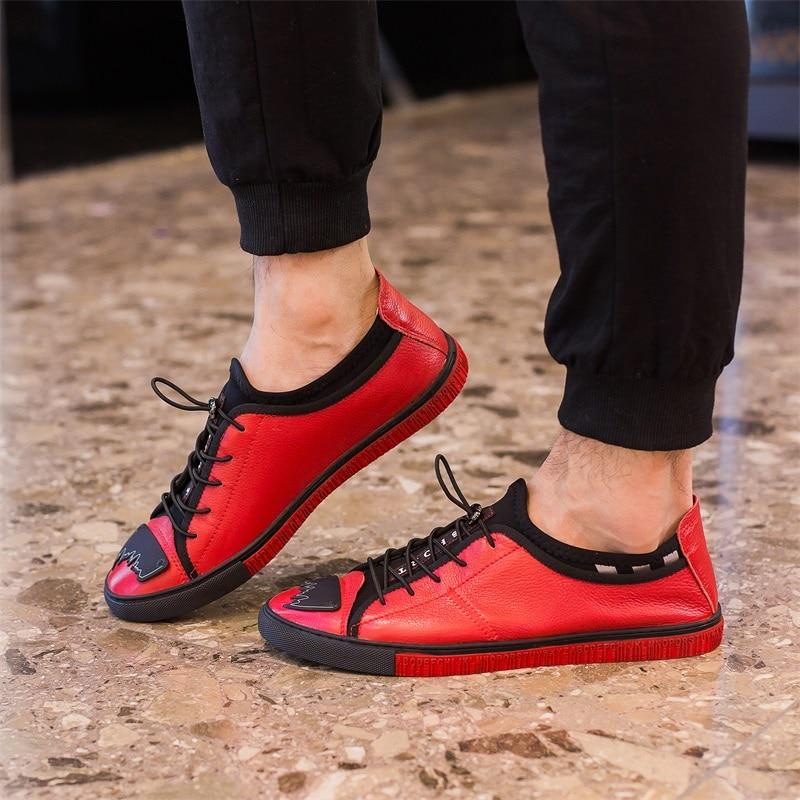 Lazer Dedo vermelho Respirável Confortável Plana Redondo Casuais Couro De Sapatos Up Sneakers Do Lace Dos Preto Apartamentos Mocassins Pé Genuíno Macio Homens 1AzfZz
