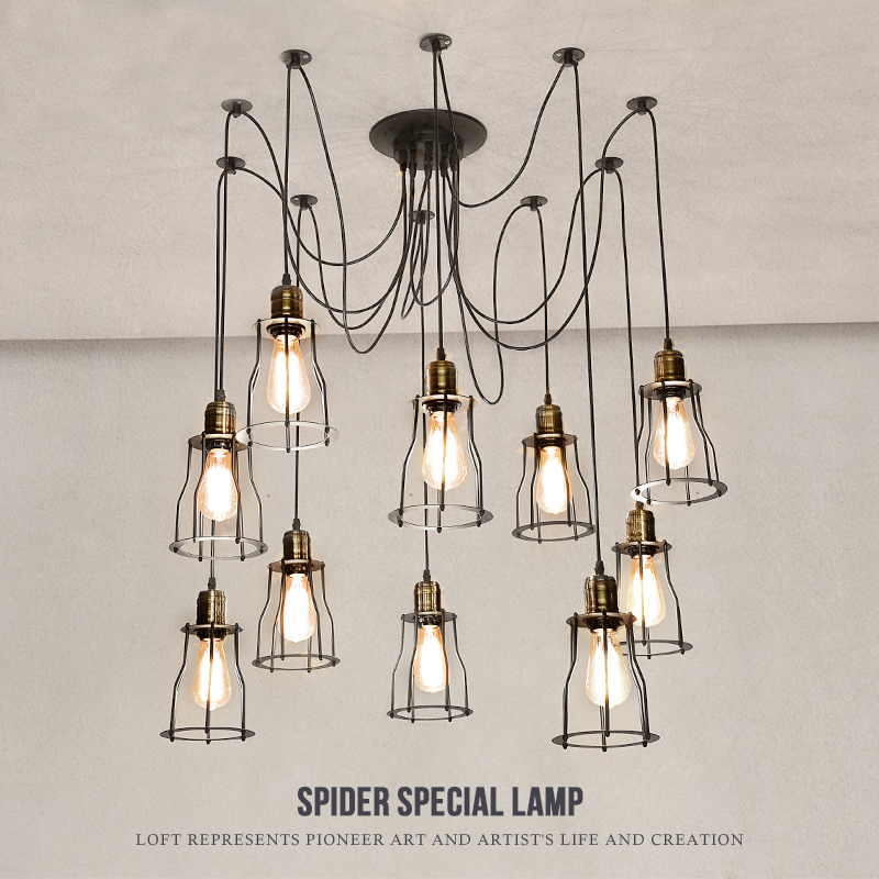 Mordern Nordic Retro Edison Bulb Vintage Chandelier Loft Antique Adjustable DIY E27 Art Spider Pendant Lamps Home Fixture Lights hemp rope chandelier antique classic adjustable diy ceiling spider lamp light retro edison bulb pedant lamp for home