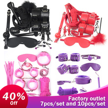 2019 Handcuffs for sex 7 10 Pcs/set Porno Sex Handcuffs Nipple Clamps Whip gag Bdsm Sex Collar mask Bondage Set Sexy Lingerie