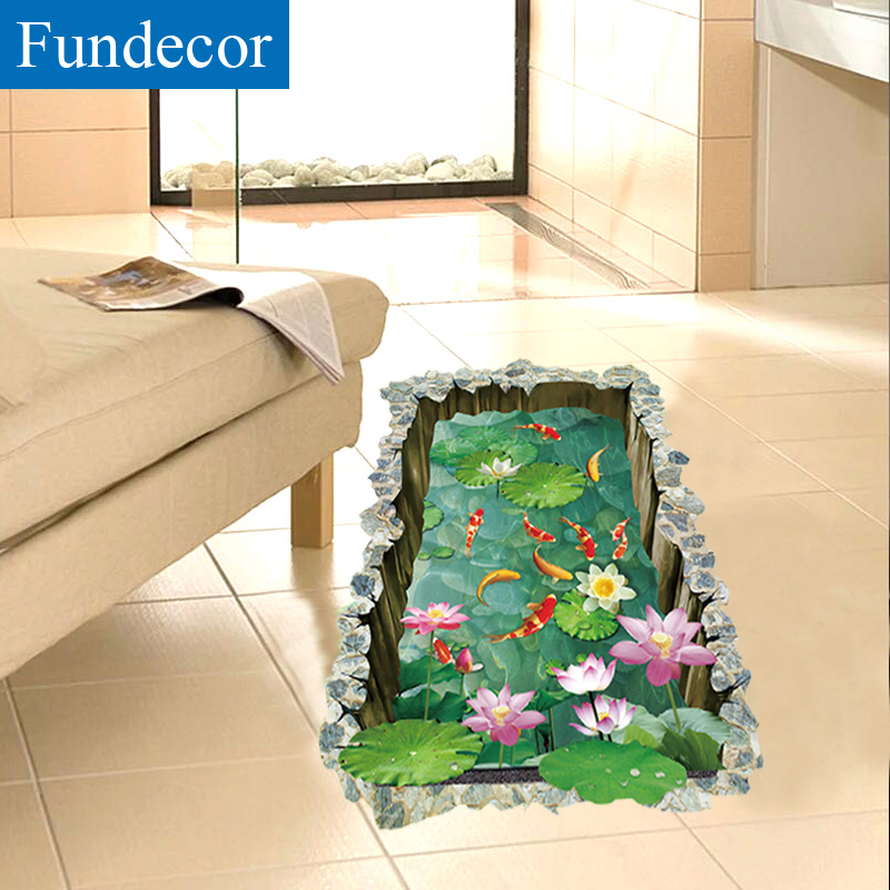 1 Room Kitchen Decoration: [Fundecor] 3D Fish Pond Floor Stickers DIY Home Decor