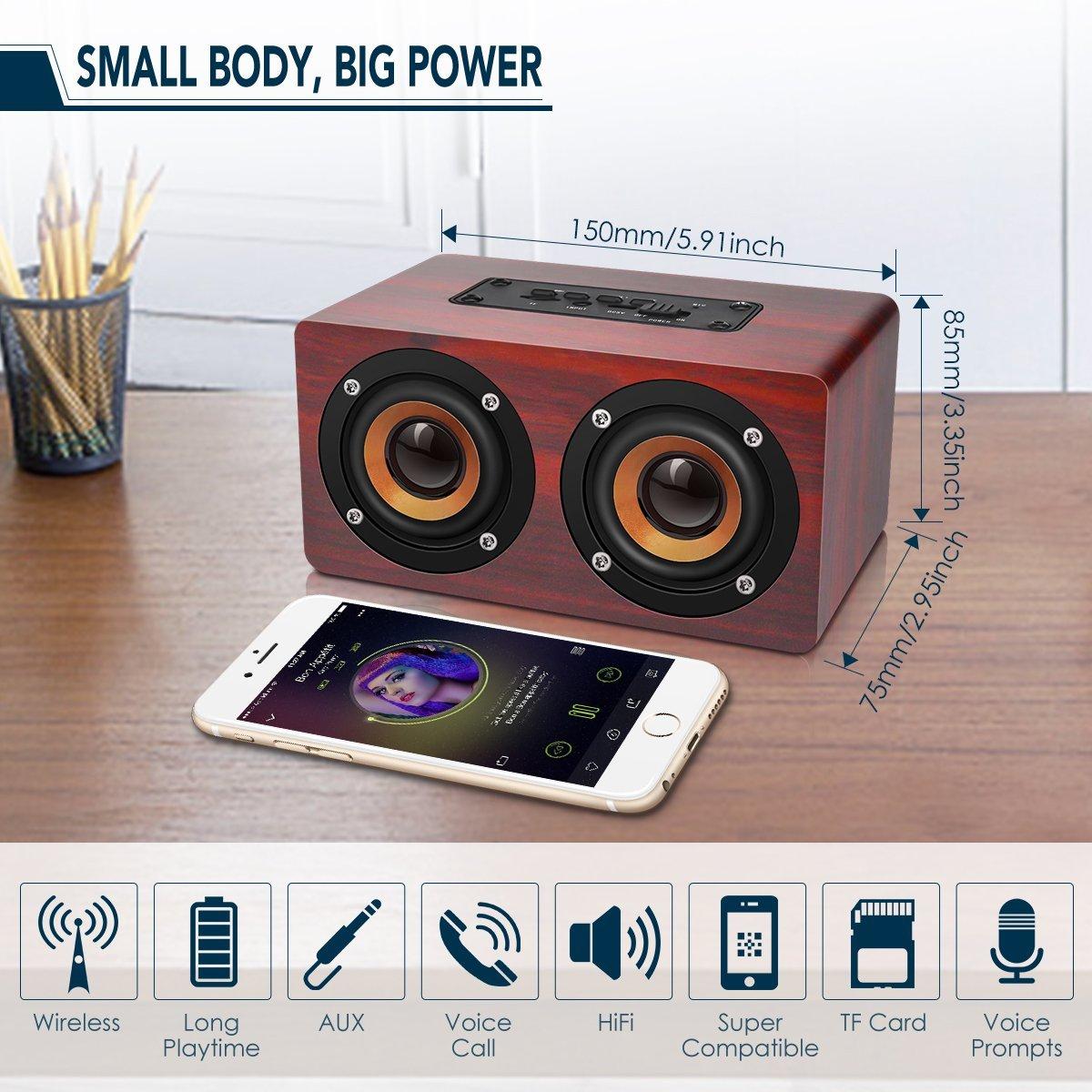 HOT-Retro Wooden Bluetooth Speaker HIFI Wireless Dual Loudspeakers 3D Surround Speaker 7