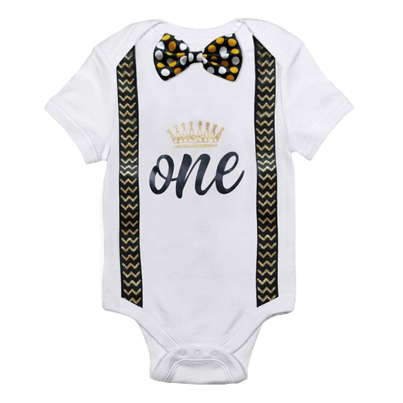 Infant Baby Boys Short Sleeves Number 1 First Birthday Romper Newborn Baby Outwear Summe ...