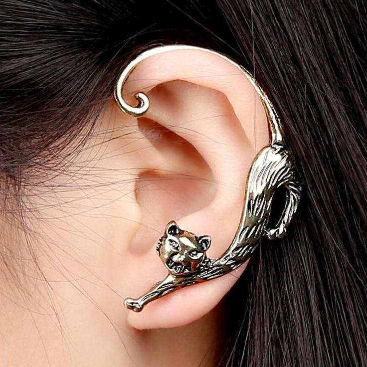 1 Pc Korean Cute Cat Earrings For Girl Women Gift Ear Cuff Earrings Fashion Lovely Gothic Anima Jewelry