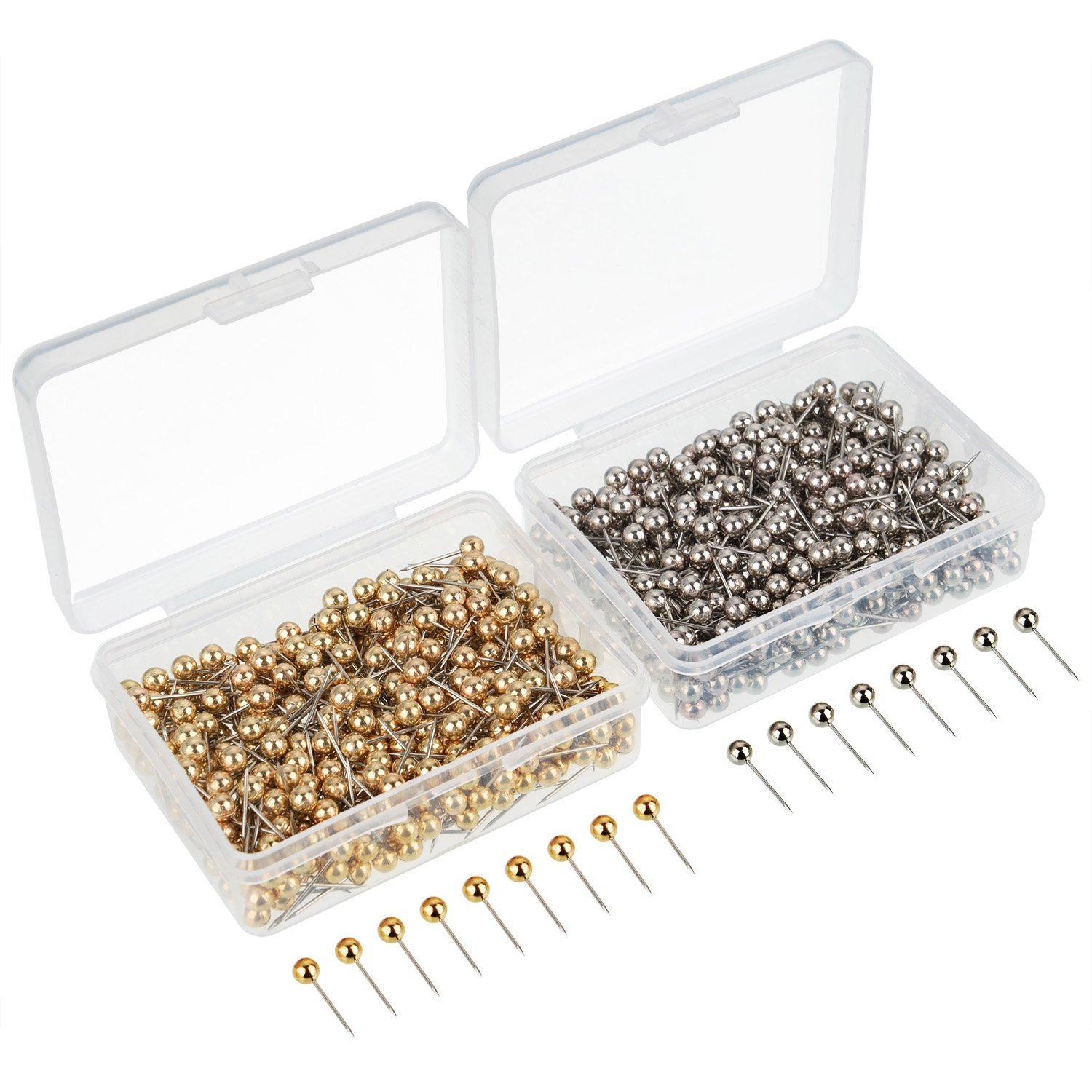 800 Pieces Map Tacks Push Pins Round Plastic Head With Stainless Steel Point, 0.16 Inch Head, Gold And Silver