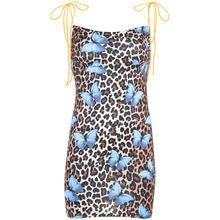HEYounGIRL Summer Spaghetti Strap Dress Casual Bodycon Sexy Mini Dress Women Printed Beach Wrap Short Ladies Dresses Party Club