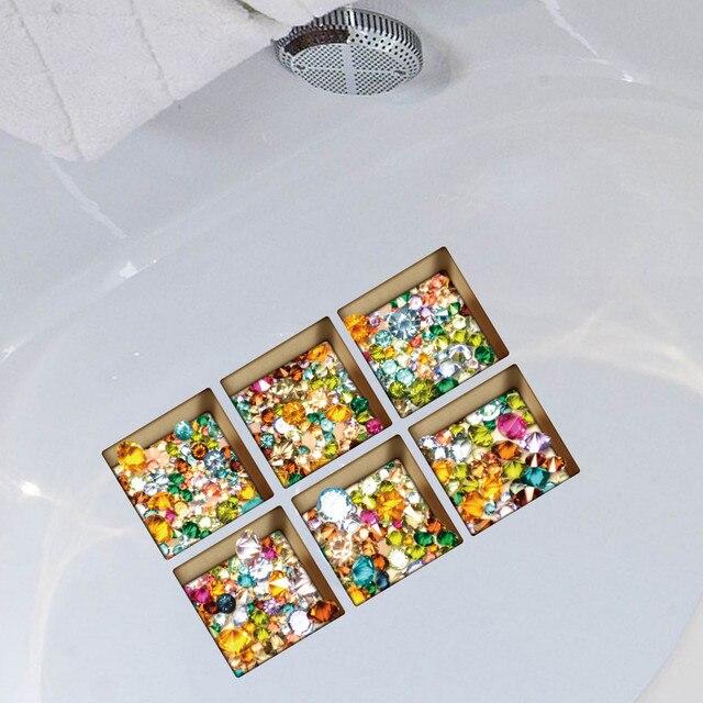 Nuovo Divertente Vasca Da Bagno sticker 6 pz 13x13 cm Del Fumetto Pattern3D Anti