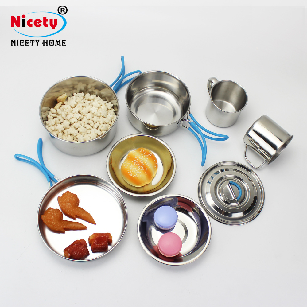 Stainless Steel Camping 9 Sets Of Sleeve Pots, Silicone Handlebars, Outdoor Pans, Mountaineering Cookware Sets, Portable Kitchen
